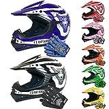 Leopard Kids Child Motocross Motorbike MX Helmet & Motocross Gloves