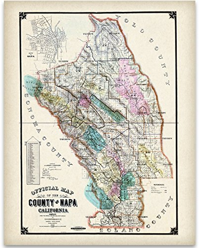 1895 Map of Napa Valley California Art Print - 11x14 Unframed Art Print - Great Vintage Home Decor for Wine Lovers (Art Vino Original)