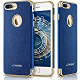 iPhone 7 Plus Case, LOHASIC Premium Leather Slim Fit Protective Cover Luxury Non Slip Soft Grip Hybrid Flexible Bumper Shockproof Cases for iPhone 7 Plus - Ink Blue, 5.5""