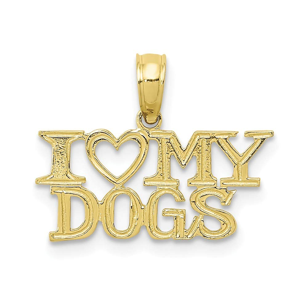 10k Yellow Gold I Heart My Dogs Pendant Charm Necklace Animal Dog Fine Jewelry Gifts For Women For Her
