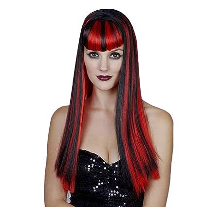 Vococal-Mujeres Lady Girls Vampire negro y rojo peluca de pelo largo recto para Halloween