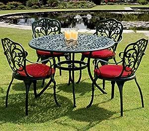 4 plazas de aluminio fundido al aire libre muebles de jardín conjunto – mesa, sillas y cojines: Amazon.es: Jardín