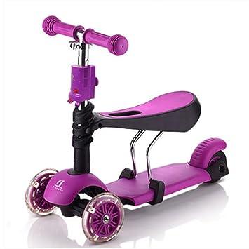 YINGER Patinetes Multifunción Tres ruedas Puede sentarse Asiento desmontable Altura ajustable scooter , purple: Amazon.es: Deportes y aire libre