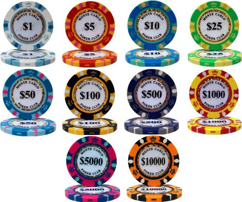 PS Monte Carlo Design 14gm Clay Poker Chip Sample Set - 10 New Chips!