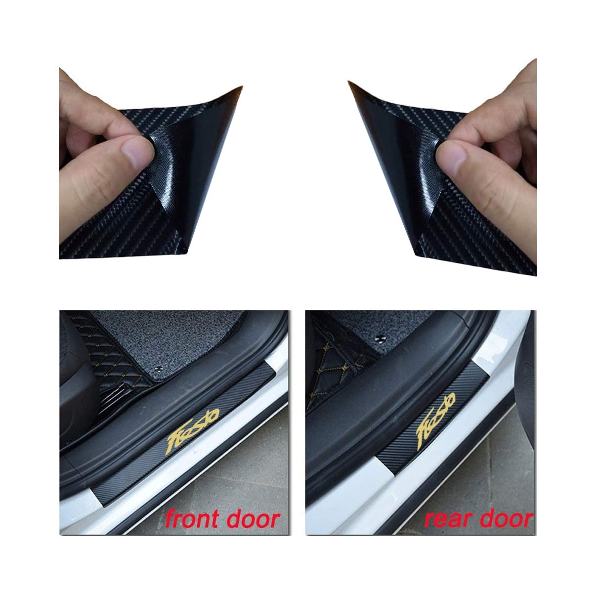 Universal Car Door Sill Scuff Plate Protector Pedals with Mustang Logo Door Sill Protector Stickers Door Sill Protector Covers for Ford series Vinyl Door Sill Entry Guards Cover for car White 2pcs