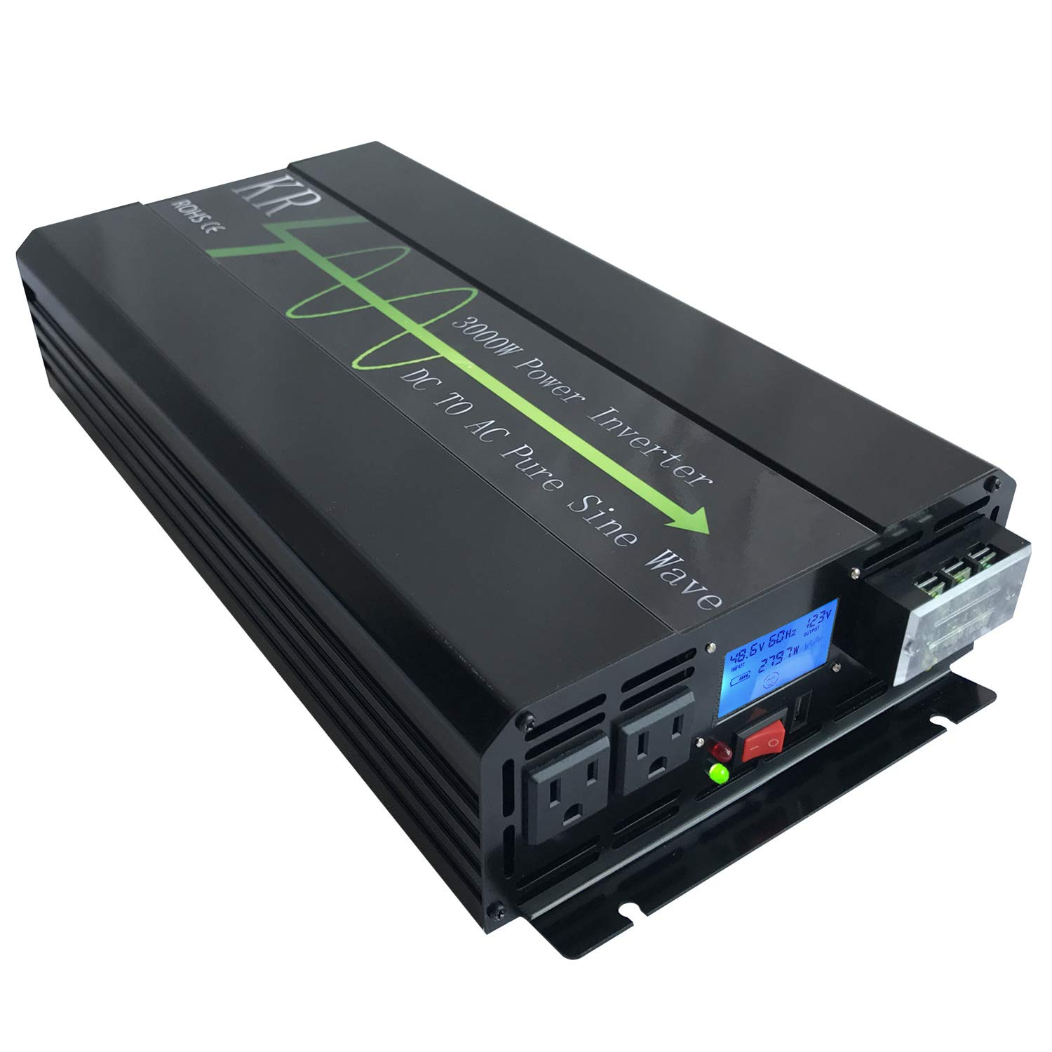 KRXNY 3000W Pure Sine Wave Power Inverter Peak 6000W 48V DC to 110V 120V AC 60HZ for Car RV Use or Home Solar System with LCD Display