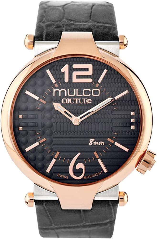 Mulco Couture Slim Quartz Slim Analog Swiss Movement Unisex Watch Special Texture Design Sundial Display Accents Leather Watch Band Water Resistant Stainless Steel Watch