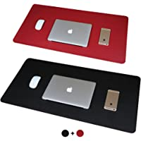 Hello Color Double-Sided Two-Color Large Desk Pad Mouse Pad 23.62x11.81 inches Non-Slip PU Leather Desk Mouse Mat Waterproof Desk Pad Protector Gaming Writing Mat for Office Home Desks (Black+Red)