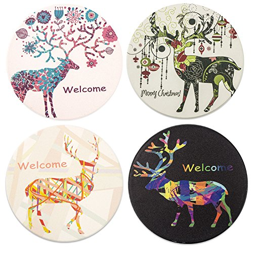 4 PCS Absorbent Ceramic Stone Coasters Glogex Wholesale Glass Cup Round Holder Coffee Wine Place mats for Drinks Crafts