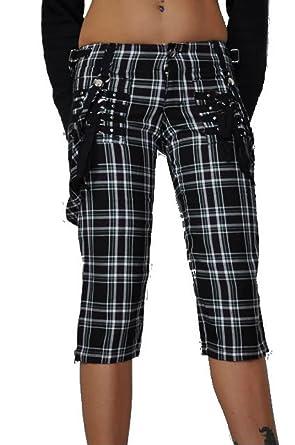 Amazon.com: Tripp NYC Goth Plaid Capri Pants with Straps: Clothing