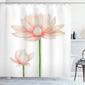 Ambesonne Yoga Shower Curtain, Pastel Colored Blooming Lotus Flower Romantic Fresh Garden Plant Spa Theme, Cloth Fabric Bathroom Decor Set with Hooks, 75