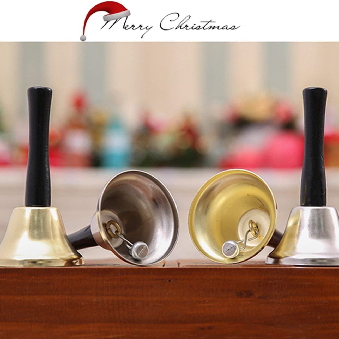 Oro JIUY Portable Babbo Natale Sonagli Campanella Festa di Capodanno Decorazioni Manico in Legno Accessori per la casa Bells Props Festival