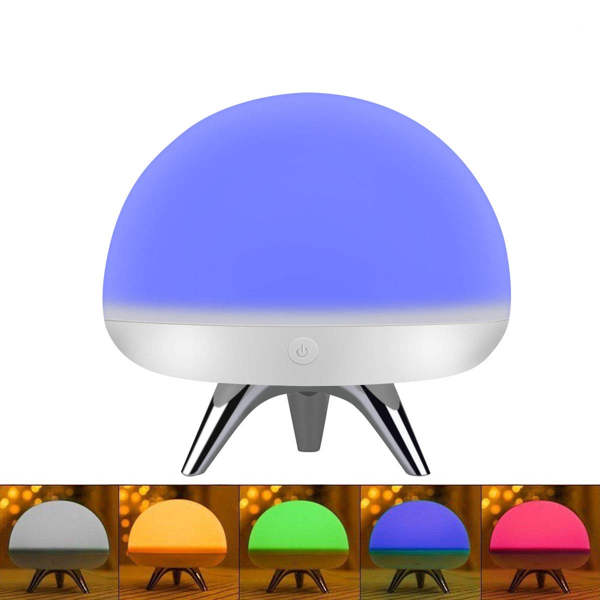 INTSUN Silicone Colorful Children Night Light USB Rechargeable Sensitive Tap Control Beside LED Table Lamp with Warm White, Single Color and 7-Color Breathing Mode for Baby Room, Bedroom, Nursery