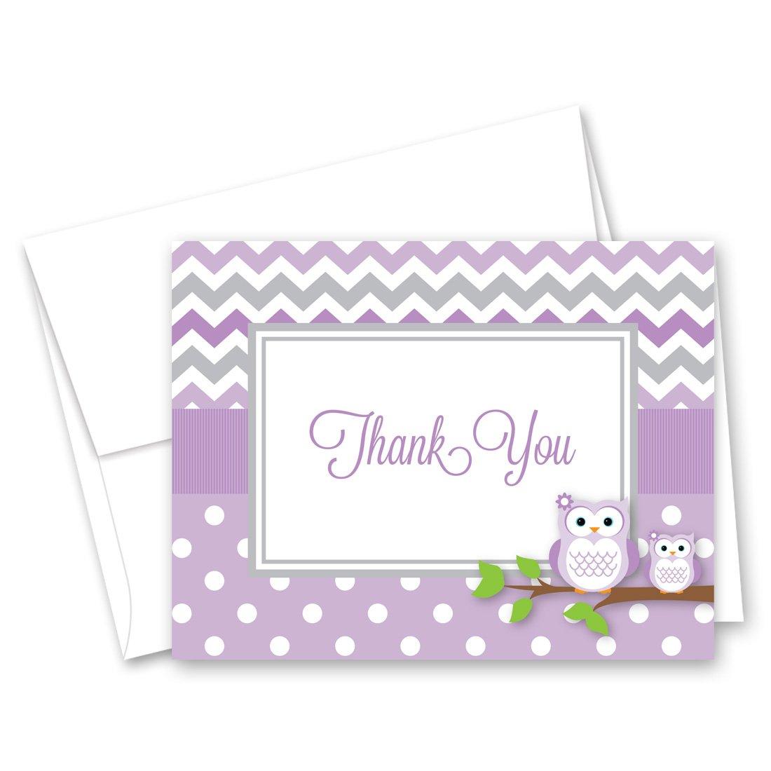 50 Cnt Purple Chevron Owl Baby Thank You Cards
