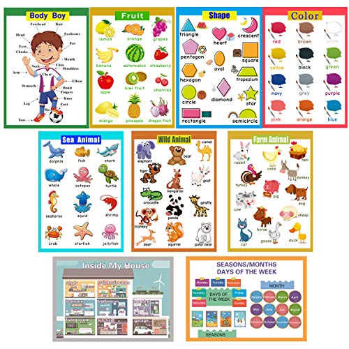 9 Laminated Educational Wall Charts|School Classroom Posters|Class Decorations for Kindergarten-Wild/Farm/Sea Animal,Body Boy,Fruit,Color,Shape,House,Seasons/Months/Days of The Week (Animals Learning Chart)