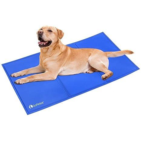 GoPetee Alfombrilla de Refrigeración para Mascotas Cama de Perro y Gato para Verano Animales Manta de Dormir Fresco Cojín (XL 96 x 81 cm, Azul Viejo)