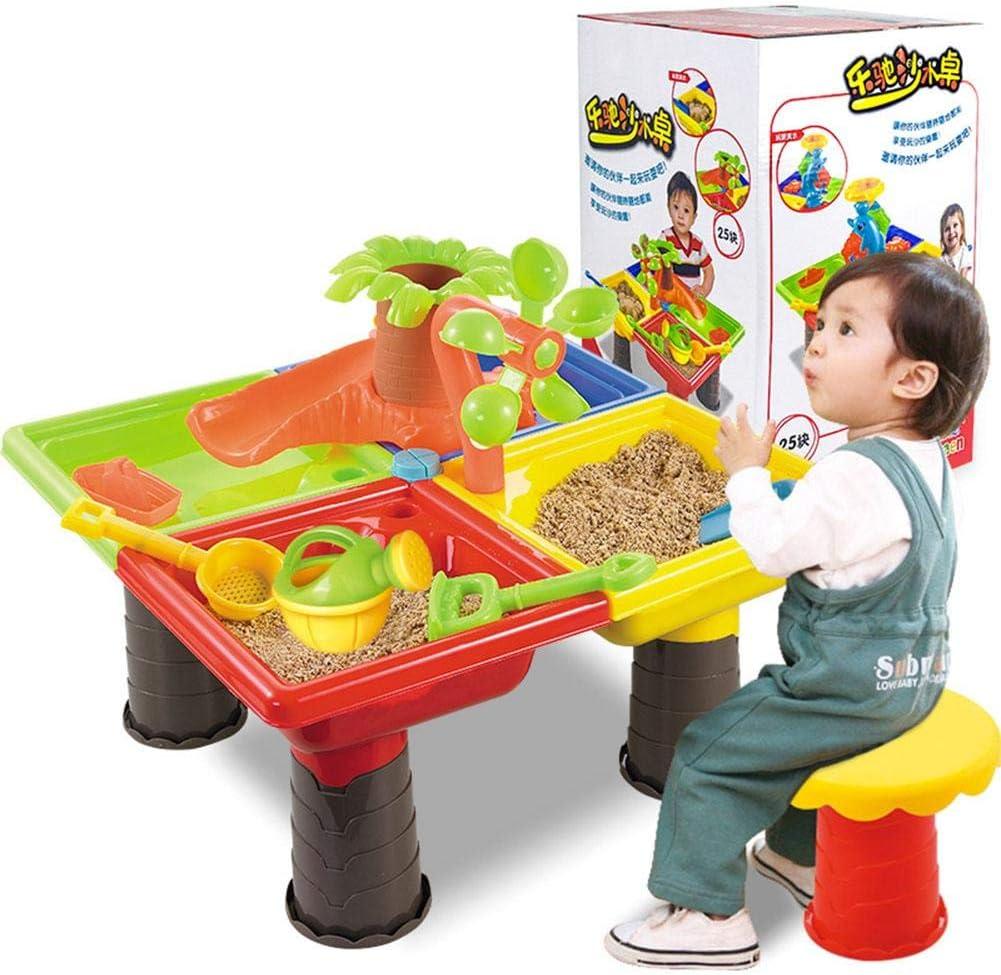 SmallPocket Mesa para Agua y Arena con Compartimento Tapas Mesita de Juegos y Actividades Infantiles al Exterior Incluye Accesorios y Moldes para Niños de (22 Piezas)