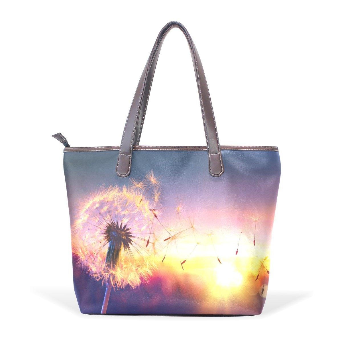 Ye Store Dandelion With Sunset Lady PU Leather Handbag Tote Bag Shoulder Bag Shopping Bag