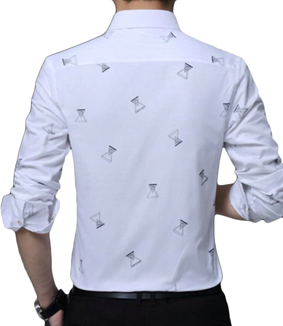 Rrive Mens Stylish Patterns Slim Fit Long Sleeve Button Down Dress Shirts