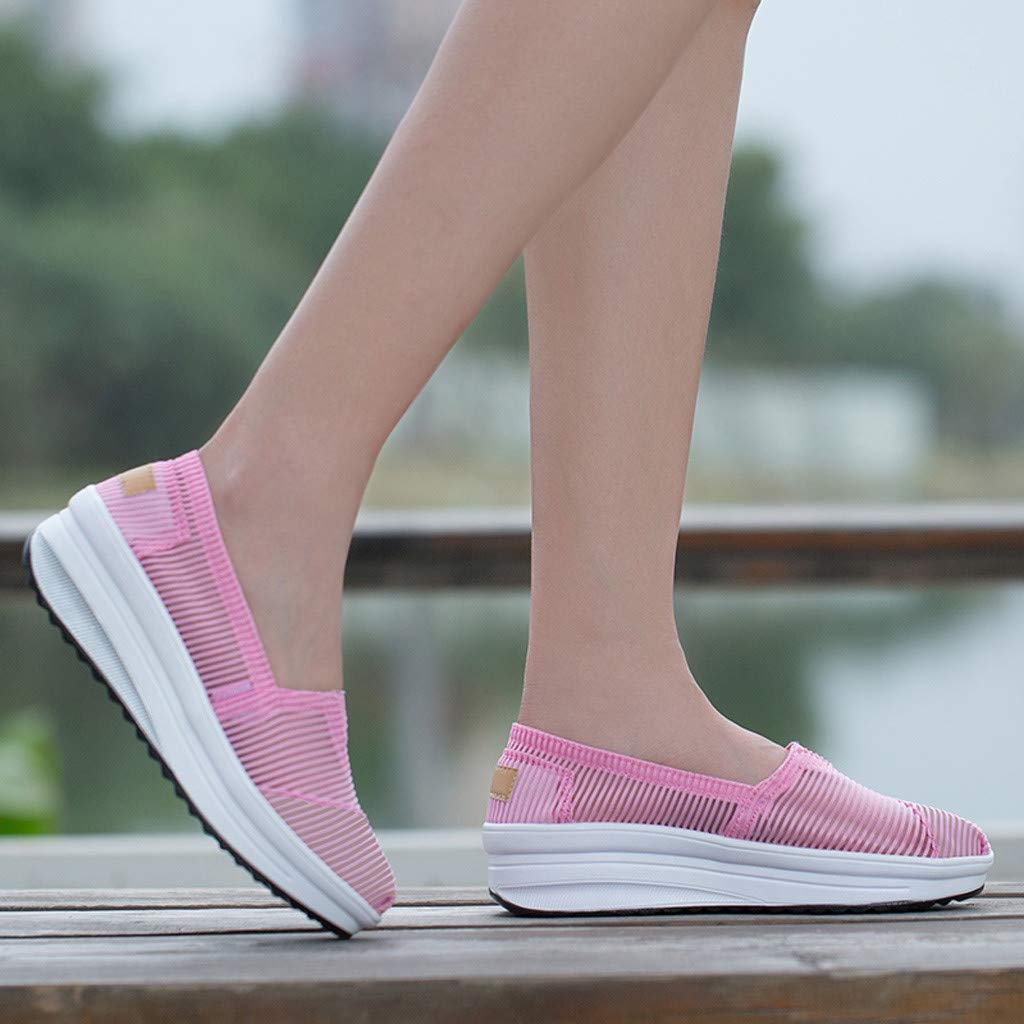 My Heat Womens Mesh Breathable Female Hollow Wedge Quick Drying Aqua Water Shoes Casual Sports Shoes