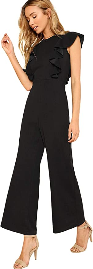 SOLY HUX Femme Combinaison avec Ceinture Et Manches Mi-Longues Fendues Jumpsuit El/égante Taille Haute Slim
