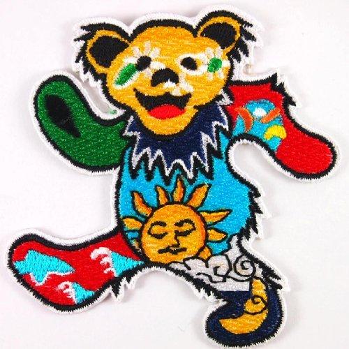 Dan Morris Grateful Dead Dancing Daisy Sun Bear Hippie Woodstock Iron On Applique Patch