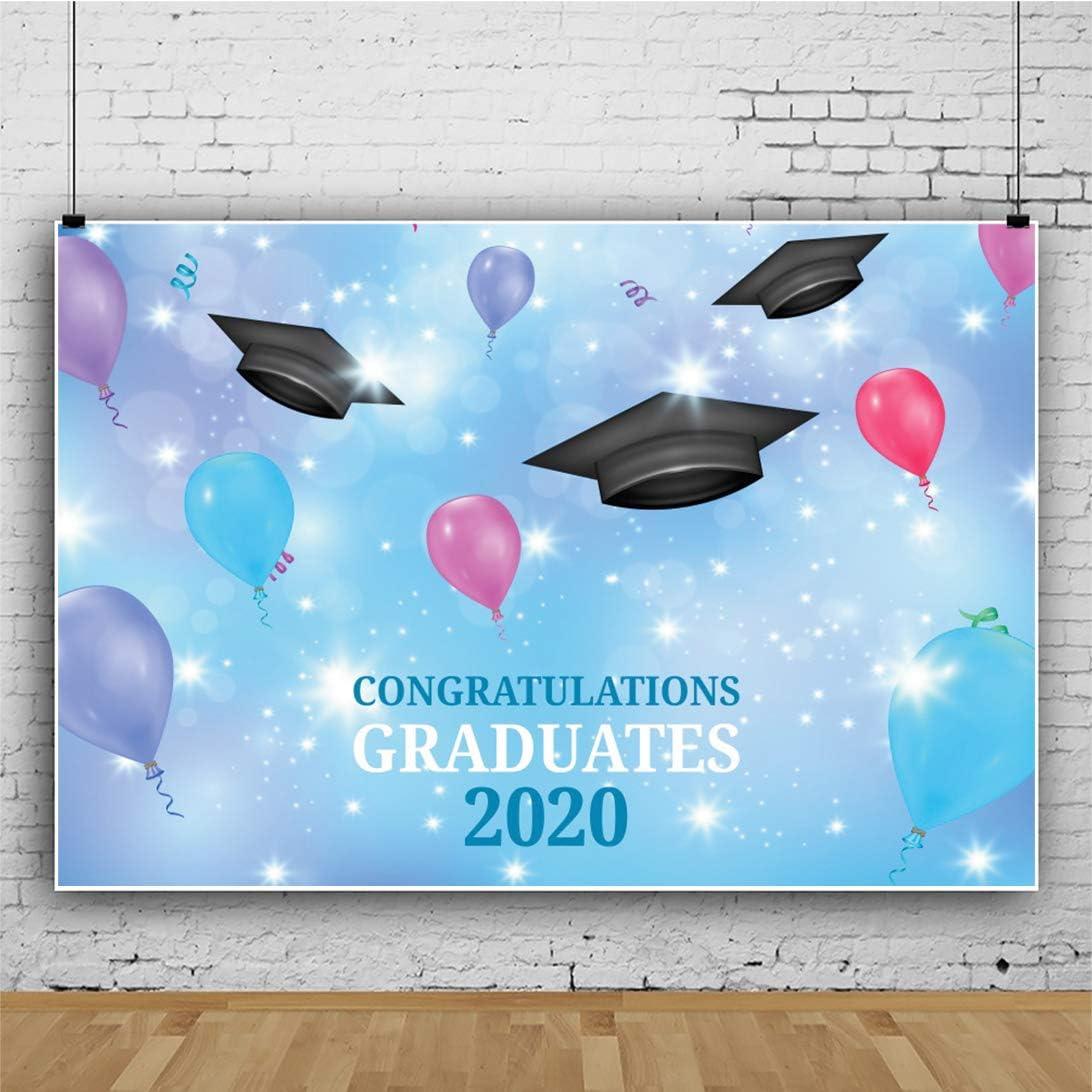 DORCEV 7x5ft 2020 Graduation Backdrop Class 2020 Congratulations Party Photography Background Step and Repeat Diploma Graduation Cap Grad Prom Party Banner Student Teacher Photo Studio Props