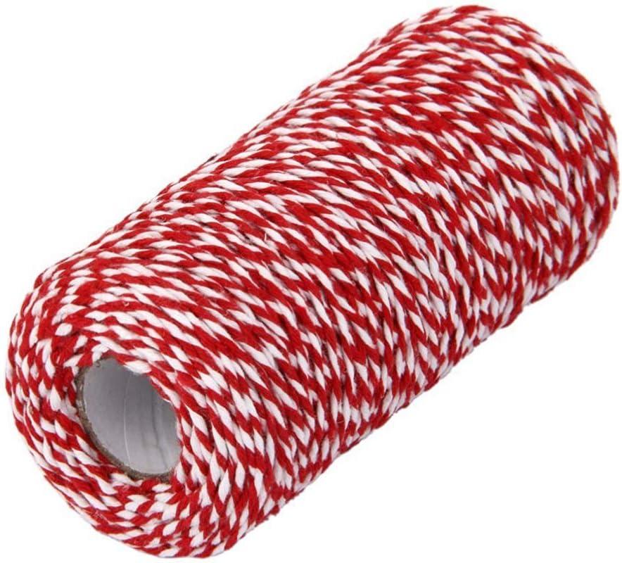 Amarillo + Blanco NUOBESTY 1 Rollo de Cuerda de Algod/ón para Panader/ía de Algod/ón Cuerda de Hilo para Manualidades Y Envoltura de Regalos para Hornear Vacaciones