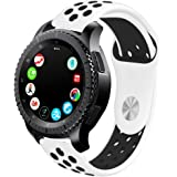 Compatible With Gear S3 Frontier/Galaxy Watch 46mm Bands and Moto 360 2nd Gen 46mm Watch Band,22mm Silicone Breathable Replacement Strap Quick-release Pin for Galaxy Watch 46mm Smart Watch (White-Black)