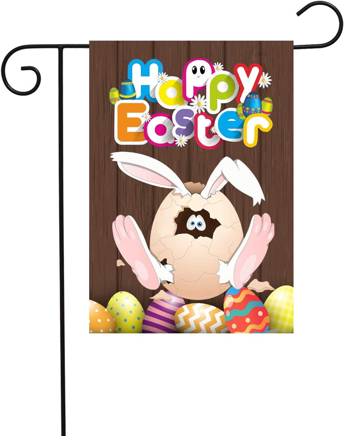 PANHUI Happy Easter Day Garden Flag Bunny Eggs Decorative for Spring Summer Outdoor Yard & Home Decorations, Double Sided Flag 12 x 18 Inch