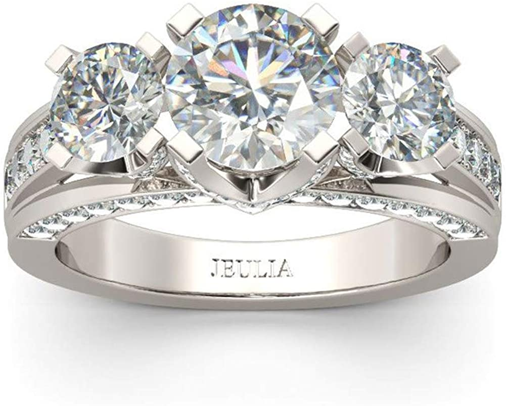 Jeulia 3 Carat Three Stone Engagement Rings for Women Round Cut Sterling Silver Wedding Rings Cubic Zirconia Pave Wedding Band Ring Set Anniversary Promise with Jewelry Gift Box