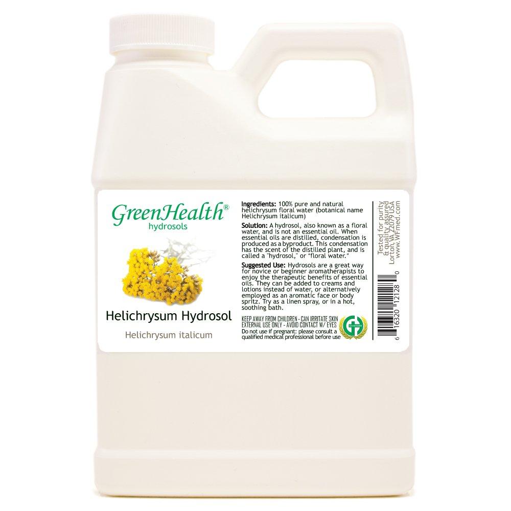 Helichrysum Hydrosol - 16 fl oz Plastic Jug w/Cap - 100% pure, distilled from essential oil by GreenHealth