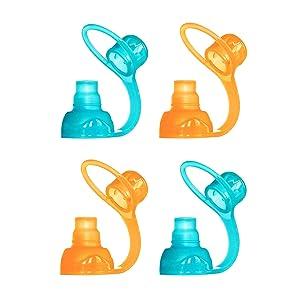 ChooMee SoftSip Food Pouch Tops   100% Silicone   Orange Aqua   4 CT