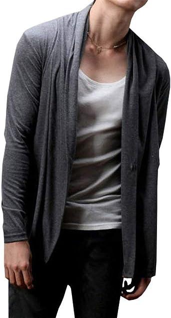 BoBoLily Cárdigan De Color Sólido para Hombre Camisas De Manga Larga Abierta Hombres Hombres Suéter Cárdigan De Corte Slim Abrigo De Punto Casual Abrigo De Otoño: Amazon.es: Ropa y accesorios