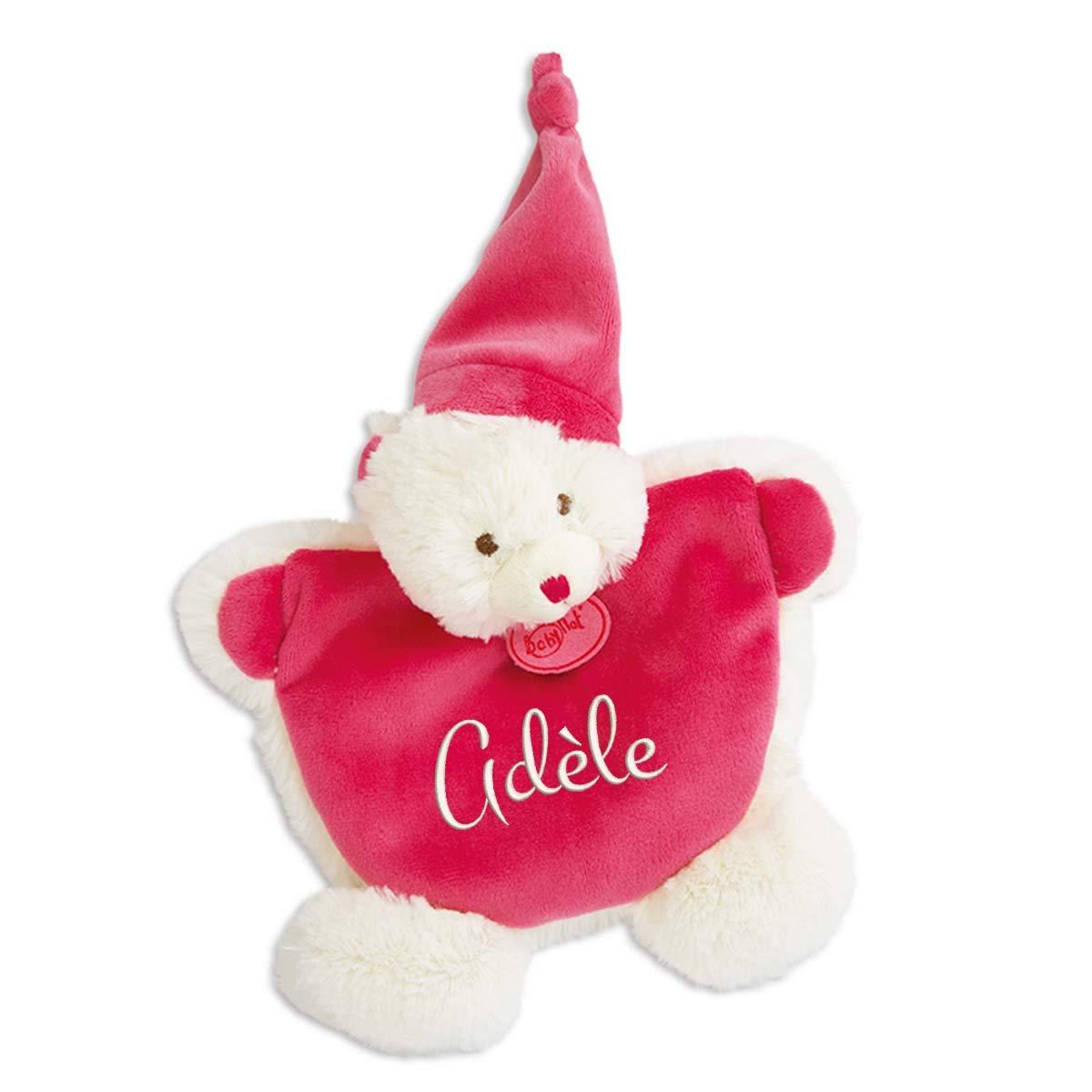 Doudou ourson rose à broder avec prénom - Les Câlins - cadeau liste de naissance - cadeau personnalisé naissance - cadeau personnalisé Noël