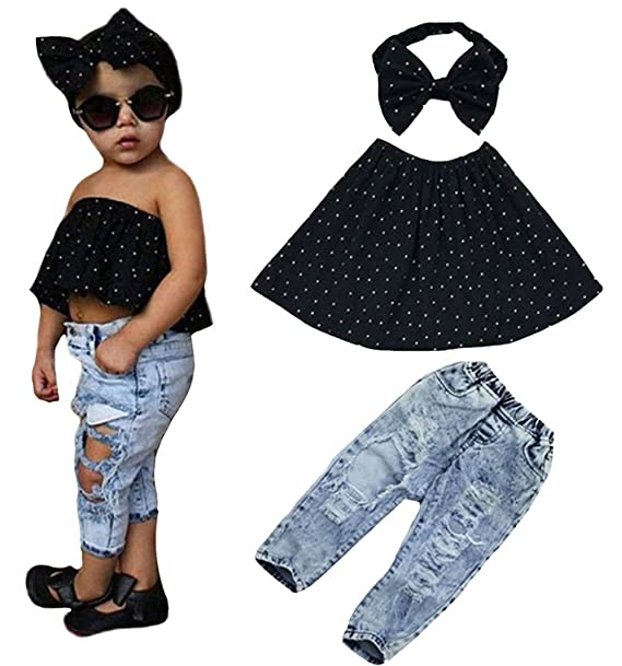 eaab9ac34b8d65 Toddler Baby Girl Cute Off Shoulder Top and Hole Denim Pants with Headband  Set size 6