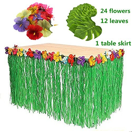 YAYALE Hawaiian Luau 1pc Green String Grass Table Skirt + 12pcs Tropical Faux Palm Leaves + 24pcs Hibiscus Flowers for Tabletop Decoration Jungle/Beach Party Supplies (green)