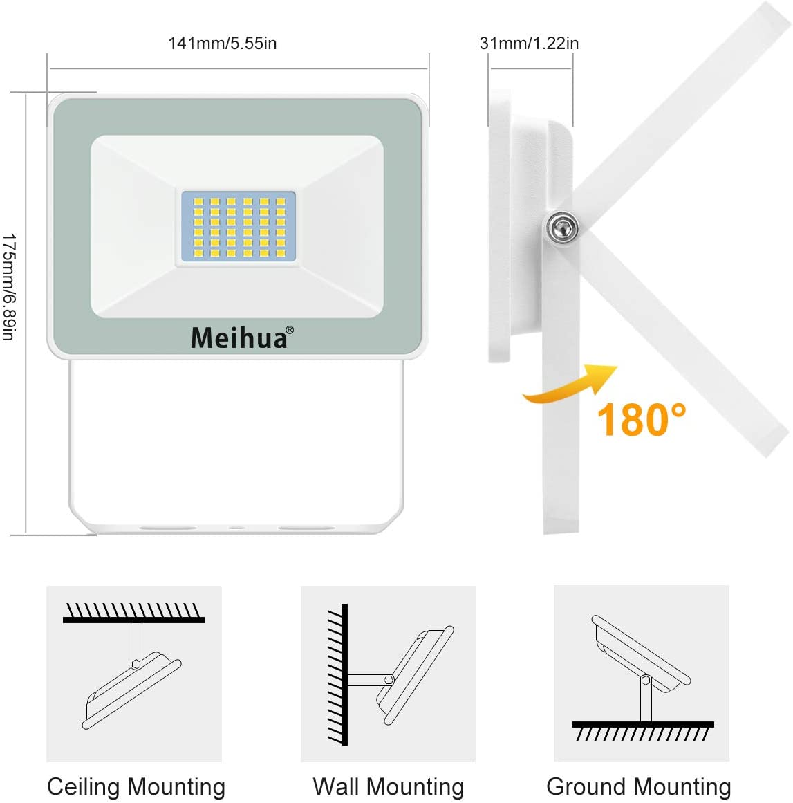 Jard/ín Meihua Foco LED de 15W Foco LED Exterior 1500LM Impermeable IP66 Seguridad Floodlight para Patio Foco Proyector LED Luz Fria 6500K Garaje Parking