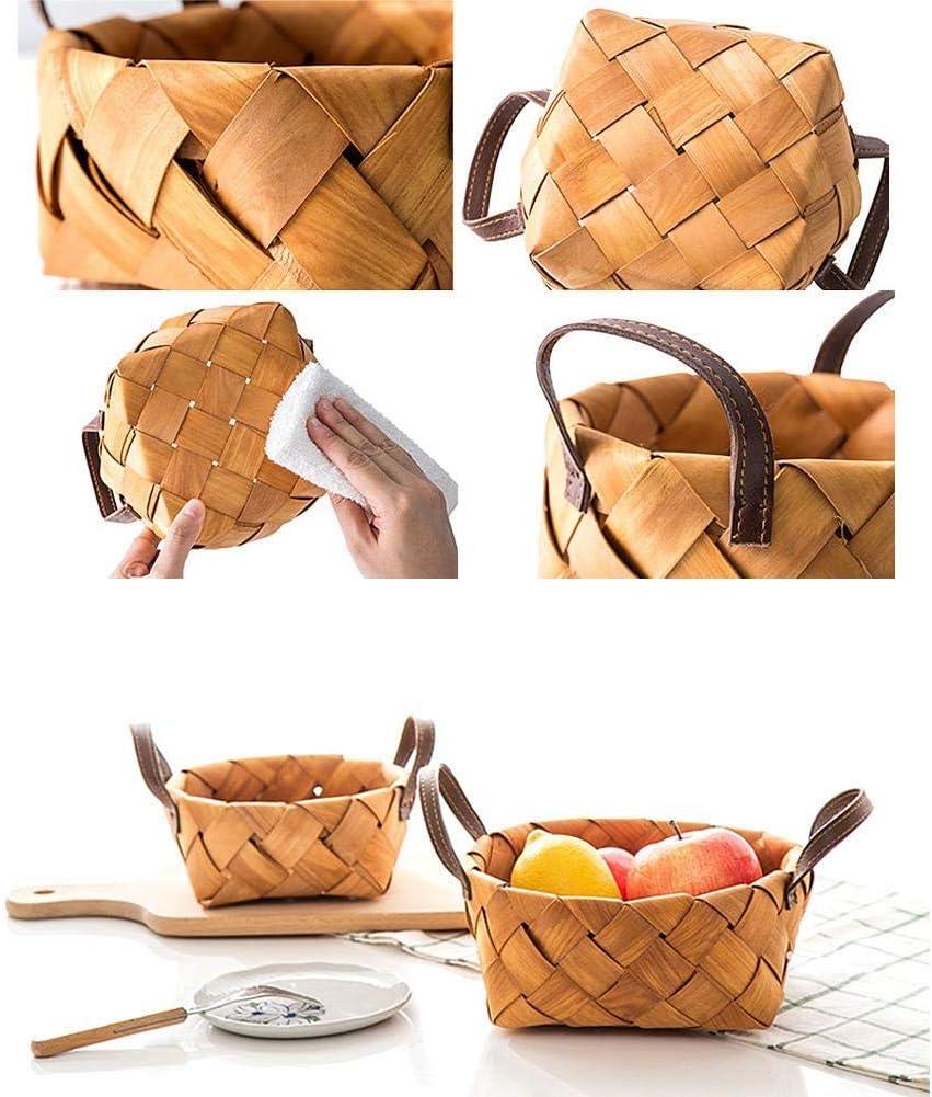 topaty Handmade Storage Container Storage Basket Woven Storage Basket Wood Chip Woven Basket Round Bread Kitchen Sundries Storage Dining Basket Fruit Picnic Basket Vintage Straw Storage