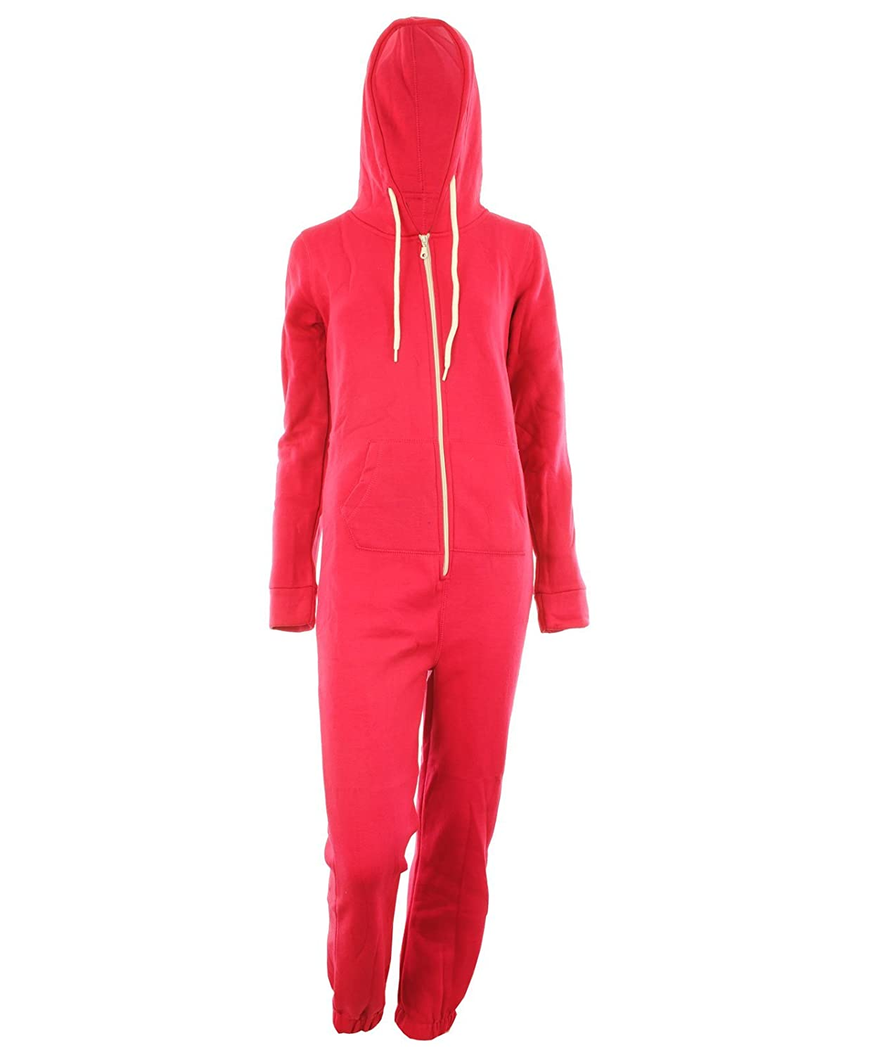 Dayna New Womens Unisex Fleece Plain Coloured Hooded Cuffed Zip Fastening Front Ladies Jumpsuit
