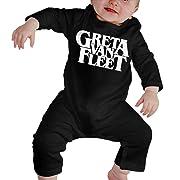 Greta Van Fleet Printed Baby Girl Unisex Cotton Long Sleeve Jumpsuit Romper with Headband Infant Clothes Black
