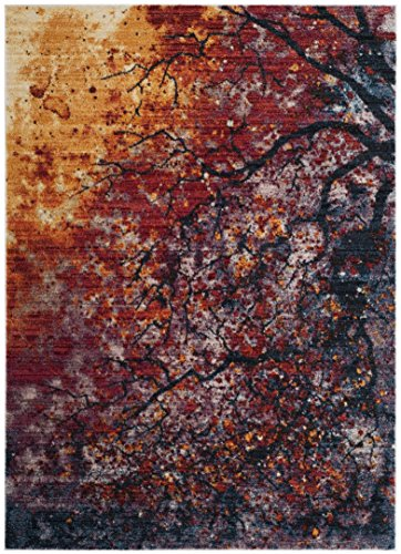 Safavieh Calista Collection CAL403A Lavender and Rust Contemporary Abstract Watercolor Area Rug (4' x 6') - Rust Outdoor Transitional Four
