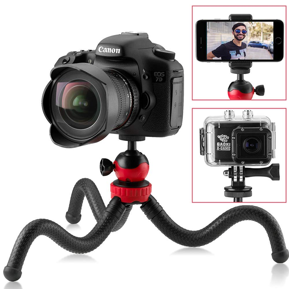 Flexible Tripod, 12' Camera Tripod + Bluetooth Remote for iPhone, Android Smartphone, Camera Tripod for DSLR, GoPro, 360° Rotatable Swivel Mount 12 Camera Tripod + Bluetooth Remote for iPhone Sturdy Tiger
