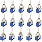 CESFONJER15 Pcs SPDT Mini Micro Toggle Switch, On/On 3 Pins 2 Position Miniature Toggle Switch AC 125V/6A