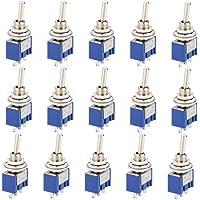 CESFONJER 15 stuks mini-tuimelschakelaar, blauw 125 V 6 A ON-Off 3 pins 2 positie marinevoertuig tuimelschakelaar…