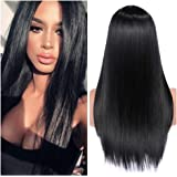 Quantum Love Wigs Long Natural Straight Middle Part Natural Black Color Wig Heat Resistant Realistic Synthetic Daily…