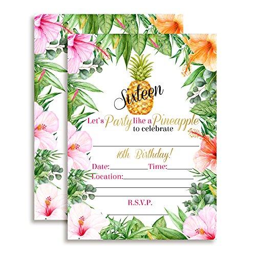 16th Birthday Tropical Flowers Pineapple Aloha Luau Party Invitations, 20 5