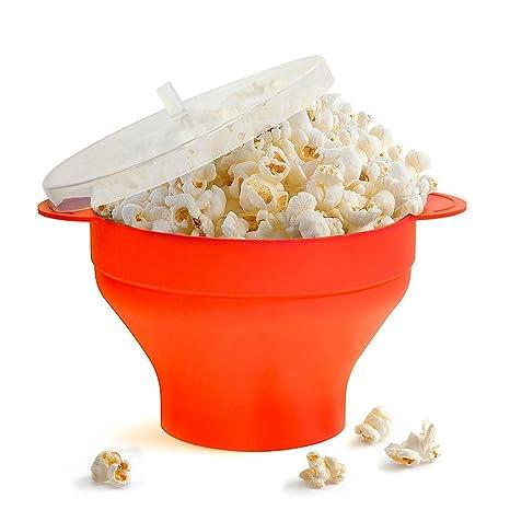 Microondas Popcorn Popper / Cuenco plegable de silicona / Silicona Popcorn Maker con tapa