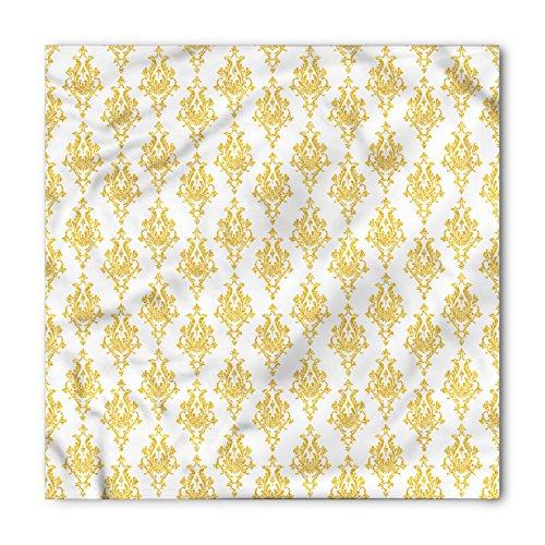 - Lunarable Unisex Bandana, Damask Tribal Antique Motif Pattern, Marigold White