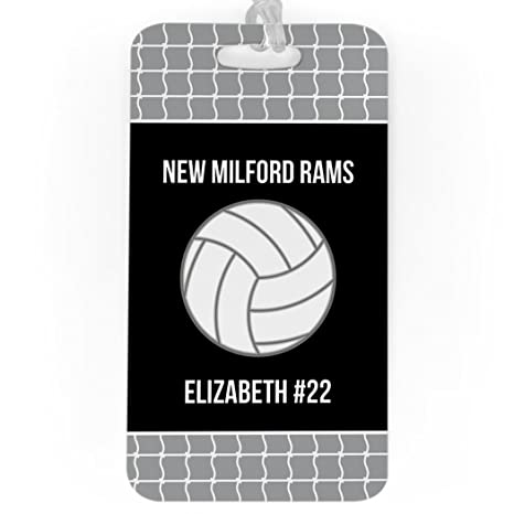 306753f7bc5 Amazon.com | Volleyball Luggage & Bag Tag | Personalized Team with  Volleyball | Standard Lines on Back | LARGE | GRAY/BLACK | Luggage Tags